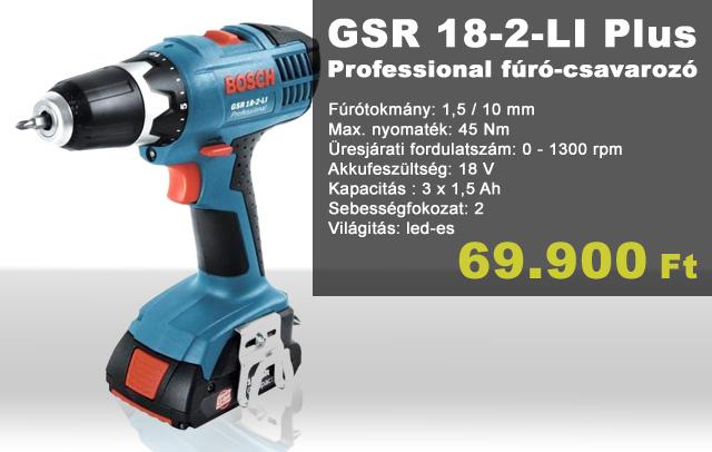 GSR 18-2-LI Plus Professional fúró-csavarozó 18V